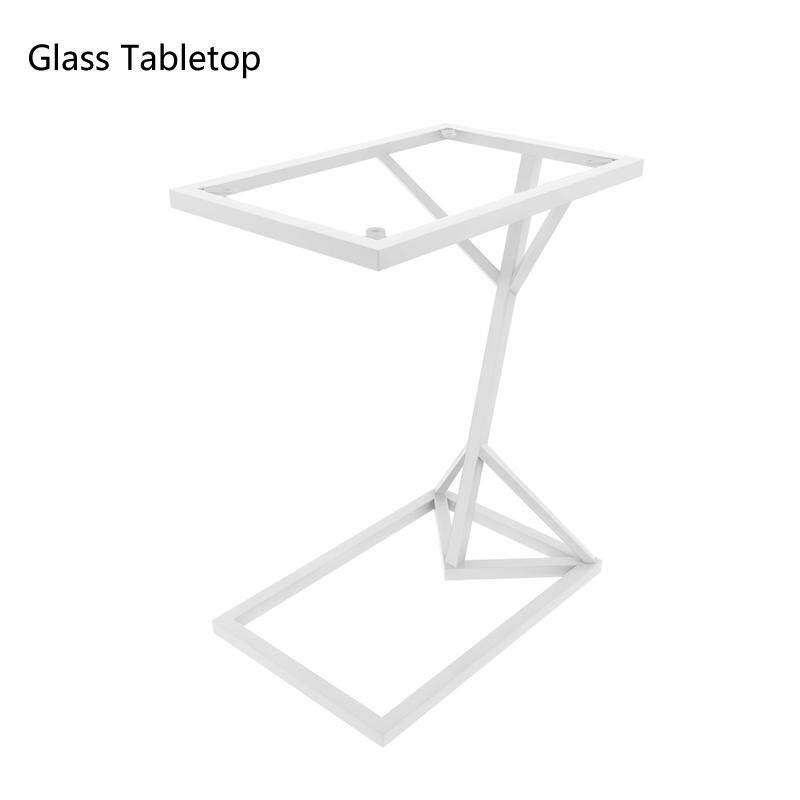 Vintage Snack Side Table, Mobile End Rectangle Table for Coffee Laptop Tablet, Slides Next to Sofa Couch, Glass Tabletop Furniture with Metal Frame
