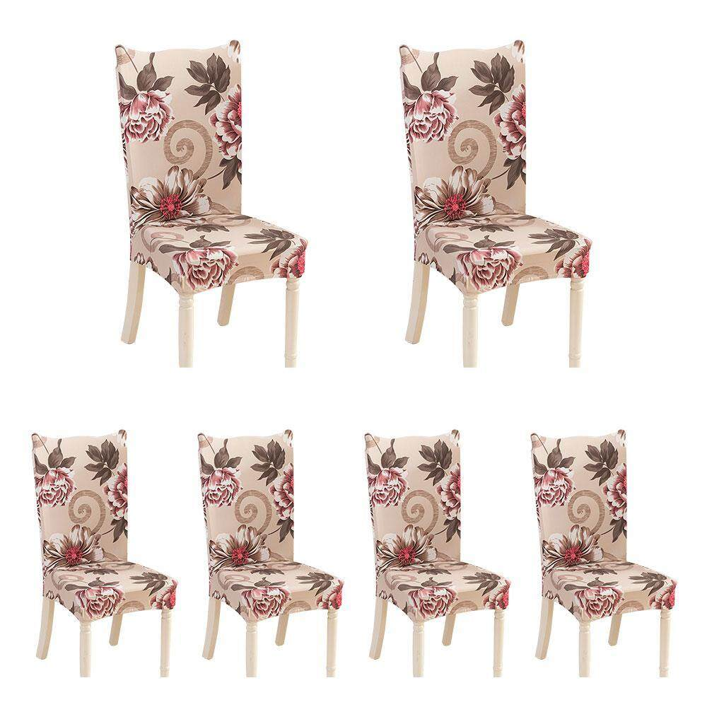BuyBowie 6 Pcs Removable Washable Dining Room Chair Covers with Printed Pattern,Soft Spandex Super Fit Stretch Chair Slipcovers for Hotel,Ceremony,Banquet Wedding Party