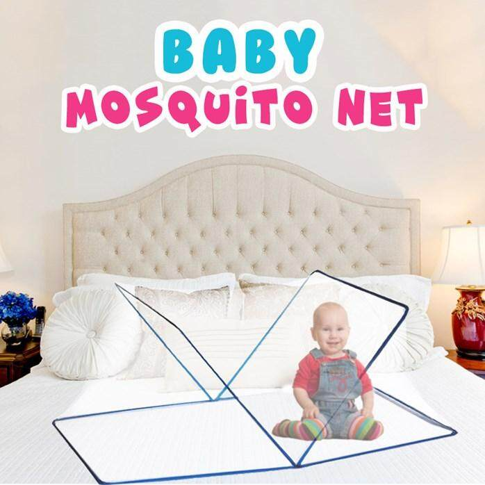 Breathable Baby Mosquito Net Foldable Large Lightweight Portable Infant Canopy Crib Bed Netting Blue By Seven_seasons.
