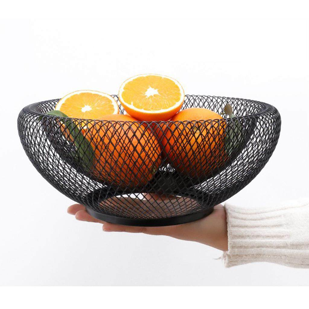 BolehDeals Iron Wire Fruit Bowl Fruit Bread Biscuit Basket Vegetable Tray Bowl for Kitchen, 9inch by 4inch