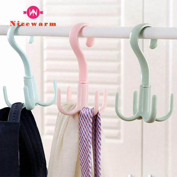 Nicewarm Creative Rotating Hook Four-claw Multi-function Wardrobe Bag Hook Plastic Scarf Tie Hook Storage Hanger