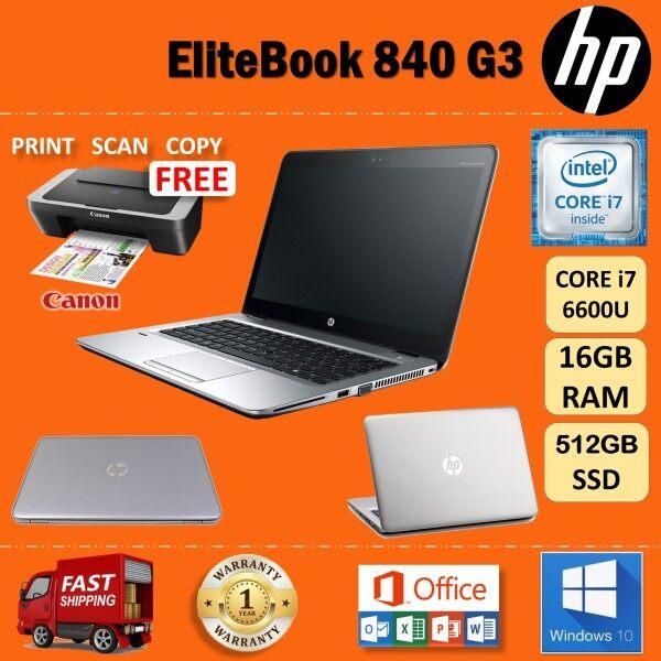 HP Elitebook 840 G3 CORE i7-6600U / 16 GB RAM / 512 GB SSD /14 INCHES FULL HD SCREEN / WINDOWS 10 PRO / ULTRA SLIM LAPTOP / REFURBISHED Malaysia