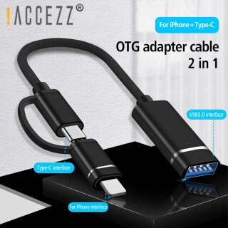 ACCEZZ Đèn Chuyển Đổi USB C Sang USB 2 Trong 1 OTG Bộ Chuyển Đổi Bộ Chuyển Đổi Cho iPhone Samsung Xiaomi Bàn Phím Chuột Cáp Chuyển Đổi Đĩa U thumbnail