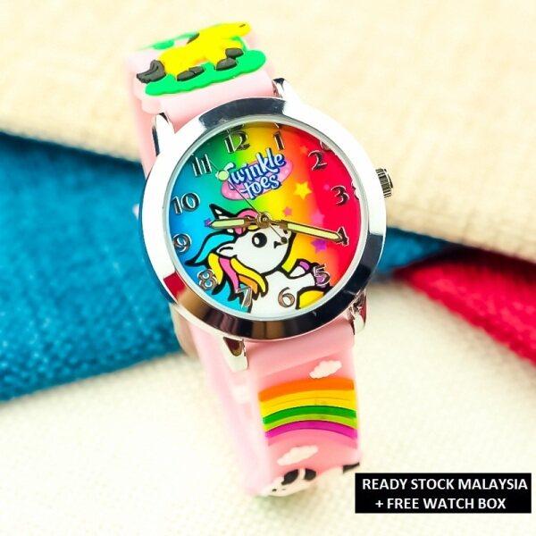 ASE Jam Tangan Kanak Kanak Kids Sport and Casual Cutie Pony with 3D Pony Silicon Strap Quartz Watch Analog Luminous Pointer Watches + Watch Box Malaysia