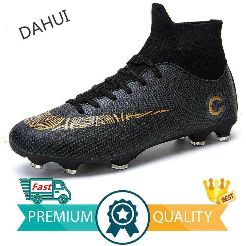 5d1684f9427 Adults Men s Outdoor Soccer Cleats Shoes High Top TF FG Football Boots  Training Sports Sneakers