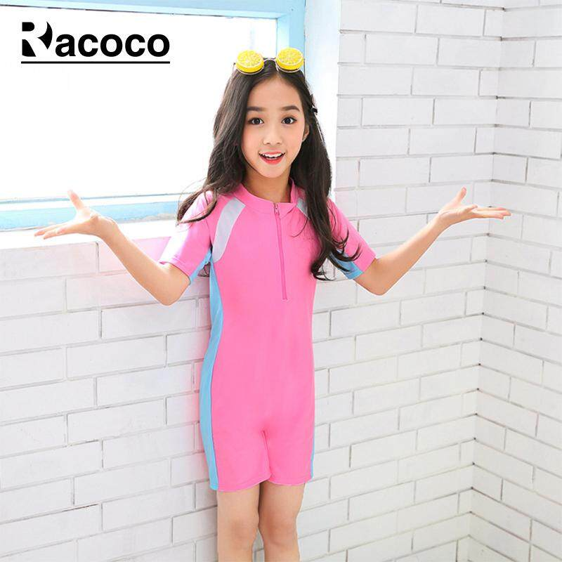 5e729c573fd Racoco Girl Swimwear Swimming Suits with Zipper Quick-swimming Piece Beach  Swimsuits Kids Clothing