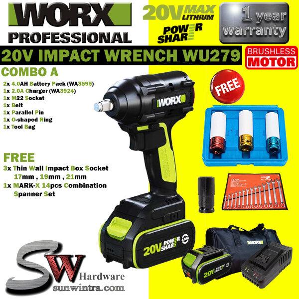 WORX 20V BRUSHLESS IMPACT WRENCH 320Nm WU279/WU 279 F.O.C 14PCS MARK-X SPANNER SET & 3x IMPACT SOCKET SET