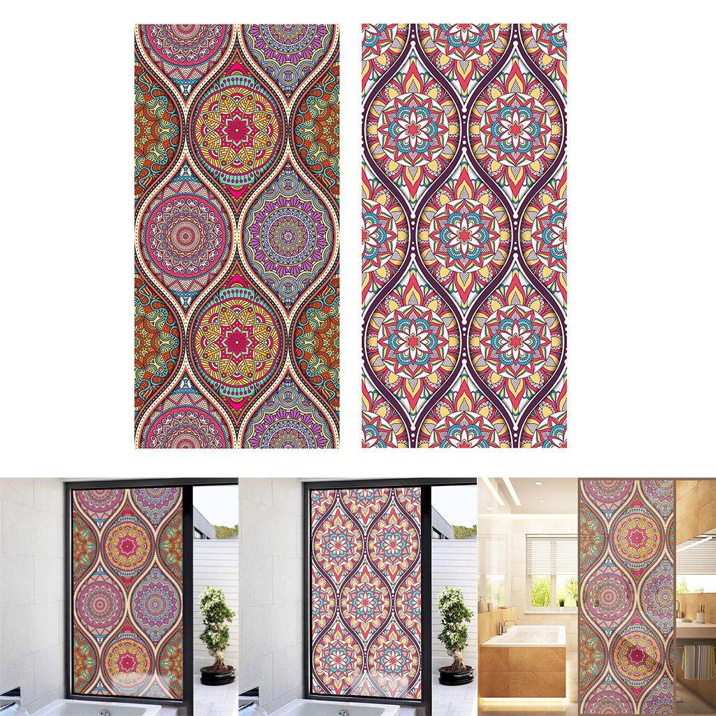 Perfk 2x Floral Static Cling Stained Window Film Privacy Frosted Glass Stickers 9