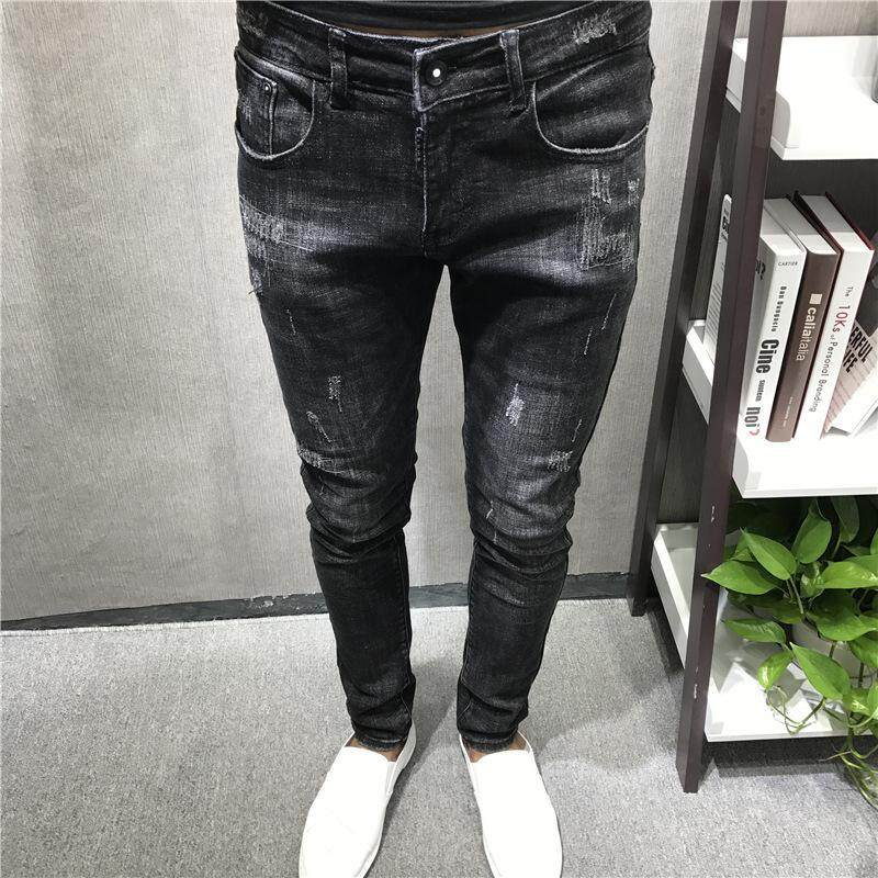 a698081e62b 2019 New Mens jeans Fashion Men Casual Slim fit Straight High Stretch Feet  skinny jeans men