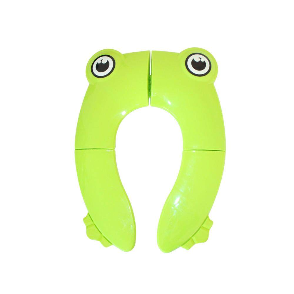 Foldable Potty Training Seat Cover Liner Toilet for Toddler Kid Girl Boy Non Slip Silicone Pads Portable Reusable for Home Travel with Carry Bag Cute Cartoon Frog