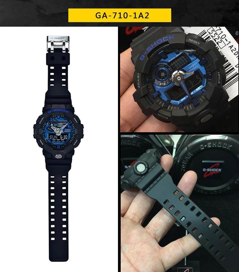 ภูเก็ต 【 STOCK】Original _ Casio_G-Shock GA710 Duo W/เวลา 200M กันน้ำกันกระแทกและกันน้ำโลกนาฬิกากีฬาไฟแอลอีดีอัตโนมัติ Wist นาฬิกากีฬาสำหรับ MenBlack Blue GA-710-