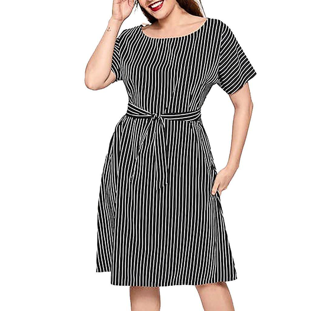 cddb4242677 dreambeautry store-Fashion Womens O-Neck Stripe Short Sleeve Plus Size  A-Line