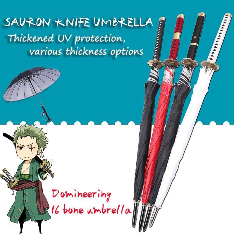 One P Iece Roronoa Zoro อัตโนมัติร่มสร้างสรรค์ฝนผู้หญิงผู้ชายซามูไรร่ม Windproof ร่ม.