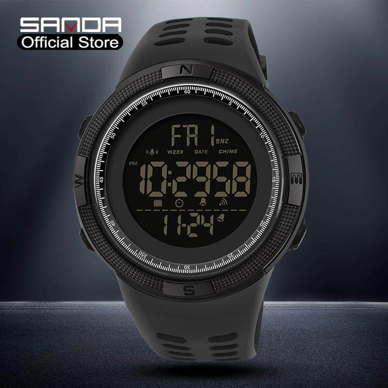 SANDA Men Watch Original Sports New Listing Mens Watch Luxury Brand Waterproof LED Display Multifunction Chronograph Outdoor Swimming Mens Watch Malaysia