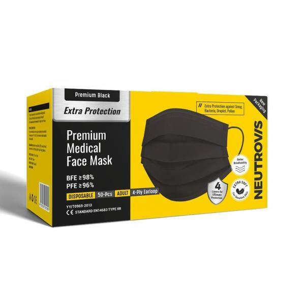 Premium Black- Neutrovis Medical Mask 4-Ply Earloop (Adult) 50 Sheets