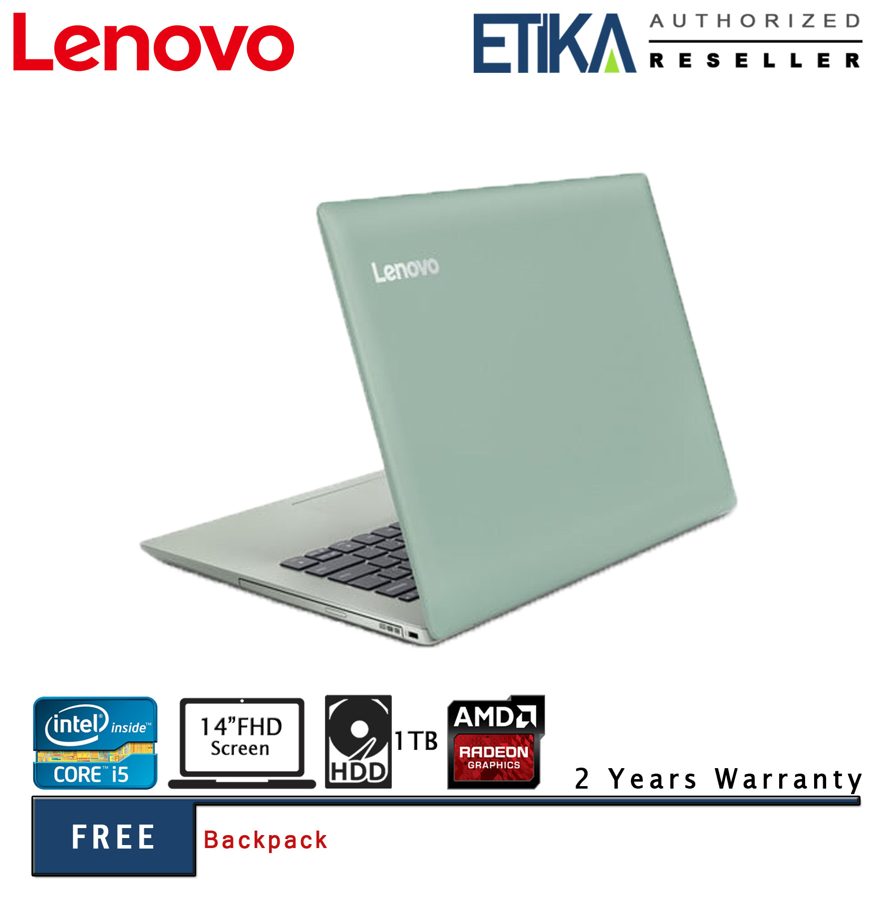 Lenovo 330-14IKBR 81G20034MJ Intel i5 14  FHD Laptop (Mint Green) - Free Backpack Malaysia