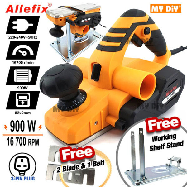 MYDIY Online2u - Allefix 900w Electric Wood Planer Power Tools With Portable Stand FREE 2pcs N1900b Blade FREE Belt & Free Working Stand Multifunction Wood Planer Machine With Stand