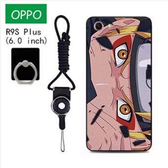Untuk OPPO R9S Plus Case Telepon Lembut Silikon Pelindung Belakang Bergambar Casing Karet dengan Tali & Cincin 3in1 Q4 波妞