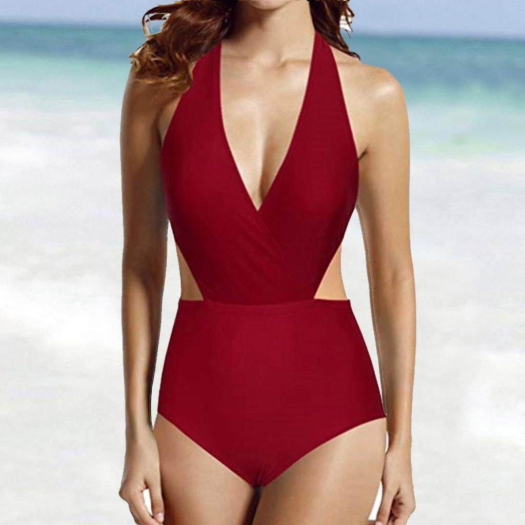 d4382d77627a46 GUO 2019 Women's Surplice Neckline High Waisted Halter One Piece Monokini  Swimsuit
