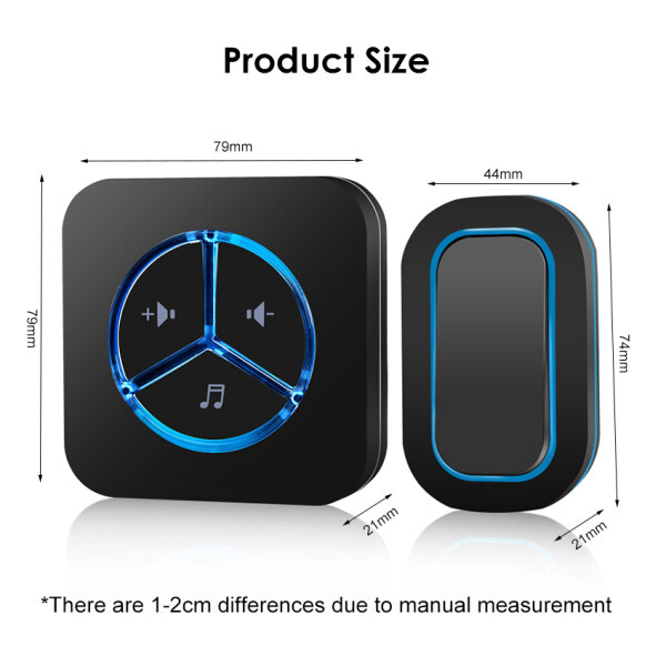 DoTopic Wireless Door Bell 280M Distance Electric Remote Control Doorbell Waterproof Wireless Doorbell 48 Different Ringtone Selection with 6 Level Volume Adjustment for Home Office Hospital Hotel