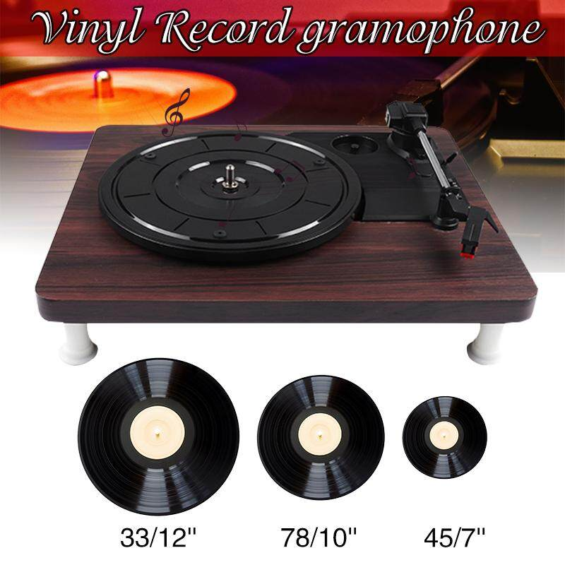 3 Speed Turntable Retro Vinyl Belt Music Wooden Record Player Stereo Speaker