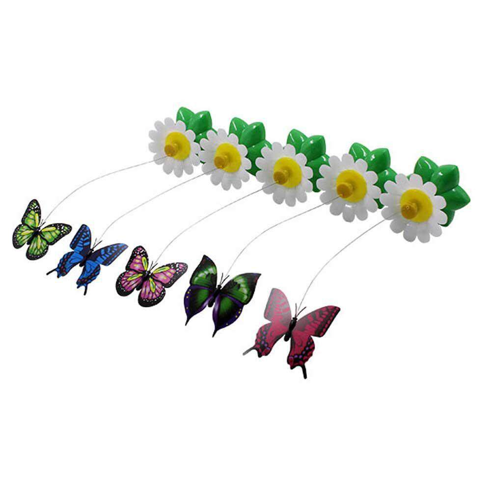 C-S Cats Electric Toy, Electric Flying Butterfly Around The Flower Interactive Toy (butterfly,multicolor) By Crazy-Store.
