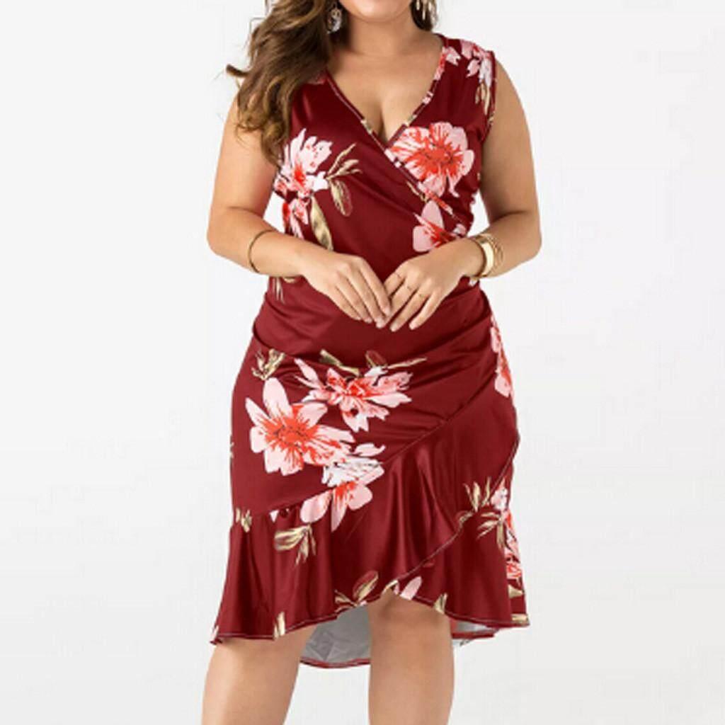 3c3e54265b3d3 Fashion Women Casual Plus Size Print Ruffles V-Neck Split Sleeveless Dress