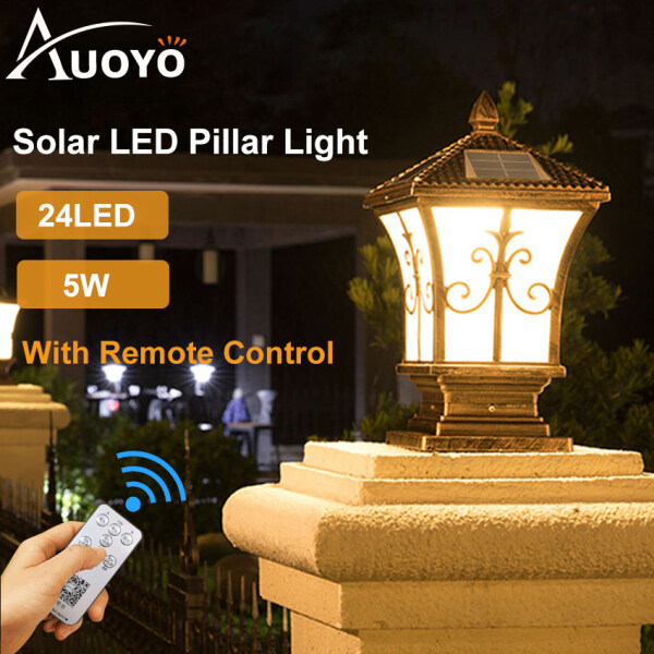 Auoyo LED Solar Light Outdoor Pillar Light Courtyard Lighting Remote Control 3 Colors Waterproof Outdoor LED Retro Lamp Motion Sensor Timer Dimmer Indoor E27 Rustproof Decorative Light for Gate Door Yard Garden Park with Mount Screw Pack