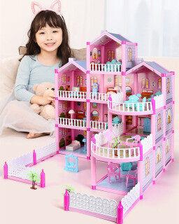 Búp Bê Freebie + Đèn Cổ Tích, Nhà Búp Bê Biệt Thự Lớn, Nhà Búp Bê Barbie Công Chúa, 4 Tầng, Mơ Ước, Quà Tặng Giáng Sinh, Bộ Đồ Chơi Đồ Hàng Tự Làm thumbnail