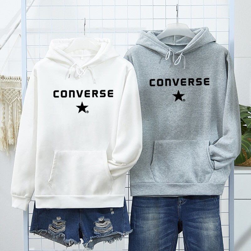 【ready Stock】converse Autumn Men Fashion Thicken Jacket Letter Long Sleeve Loose Casual Coat Unisex Hoodie Couple Wear.