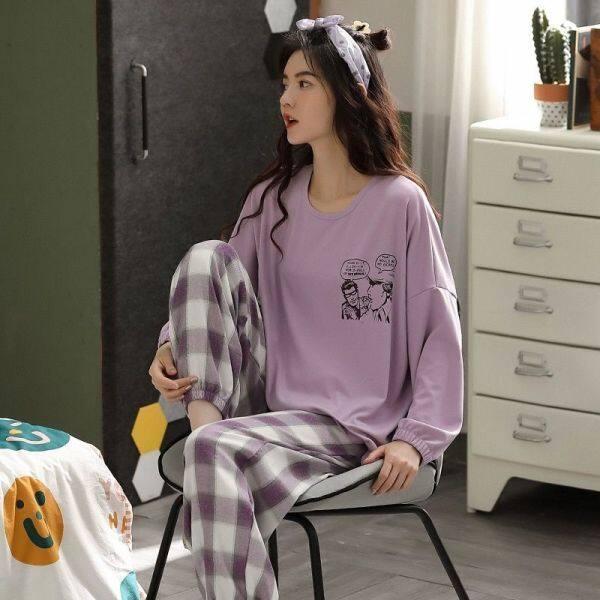 Đồ Ngủ Bộ Đồ Hai Mảnh Thường Ngày Ngọt Ngào Dáng Rộng Cỡ Lớn Mỏng Dễ Thương Cho Học Sinh Hàn Quốc Mùa Xuân Và Mùa Thu Cho Nữ Nhà Dịch Vụ