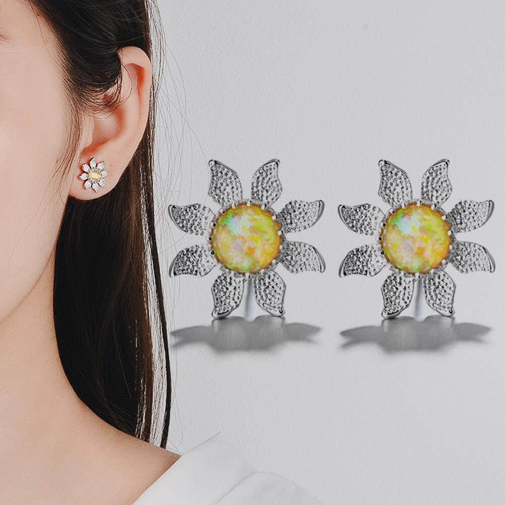 Bluelans®fashion Elegan Bunga Matahari Imitasi Opal Logam Telinga Anting Stud Wanita Perhiasan Hadiah By Bluelans.