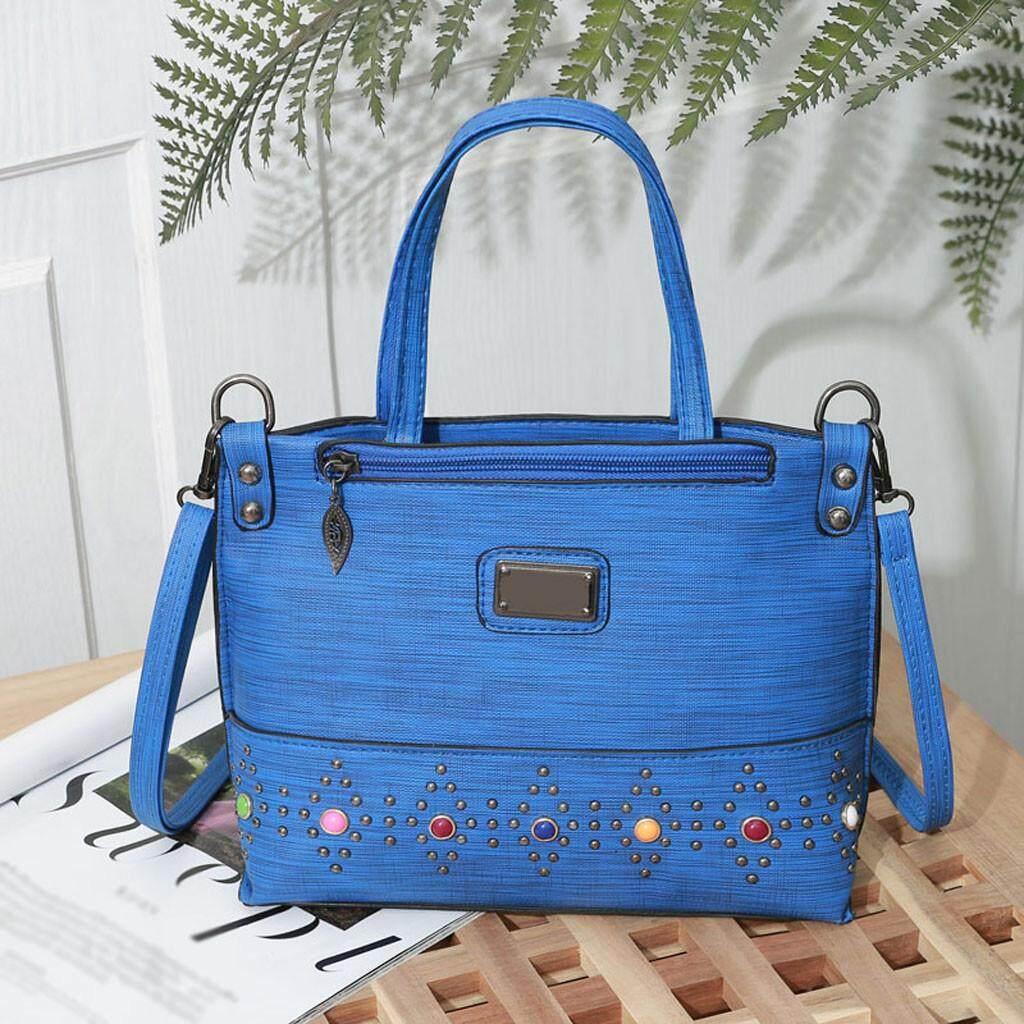 Fashion Free Shpping Fashion Women Zipper Rivet Pure Color Shoulder Bags Messenger Bag Hand Bag
