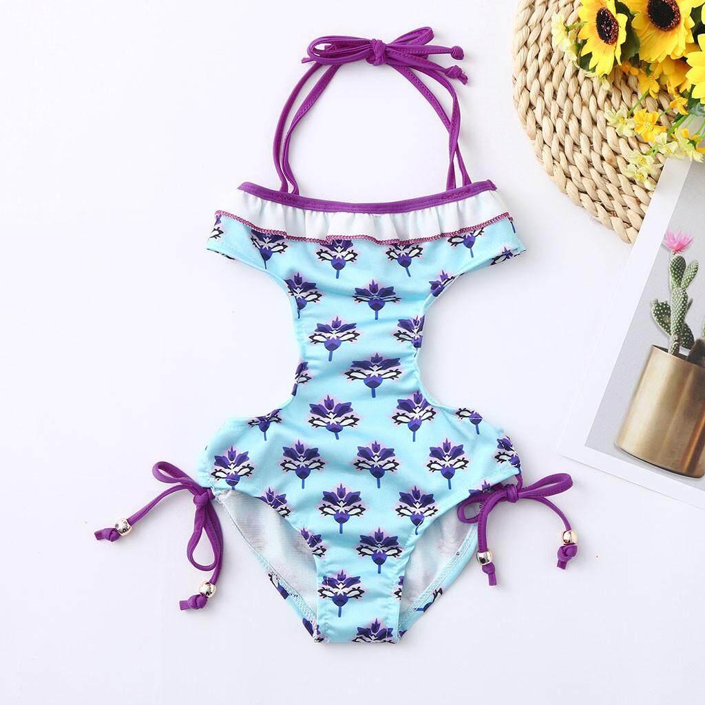 a1e5dfe045 2019 swimwear Summer Baby Girl Ruffles Floral Print Swimwear Swimsuit  Backless Romper Jumpsuit
