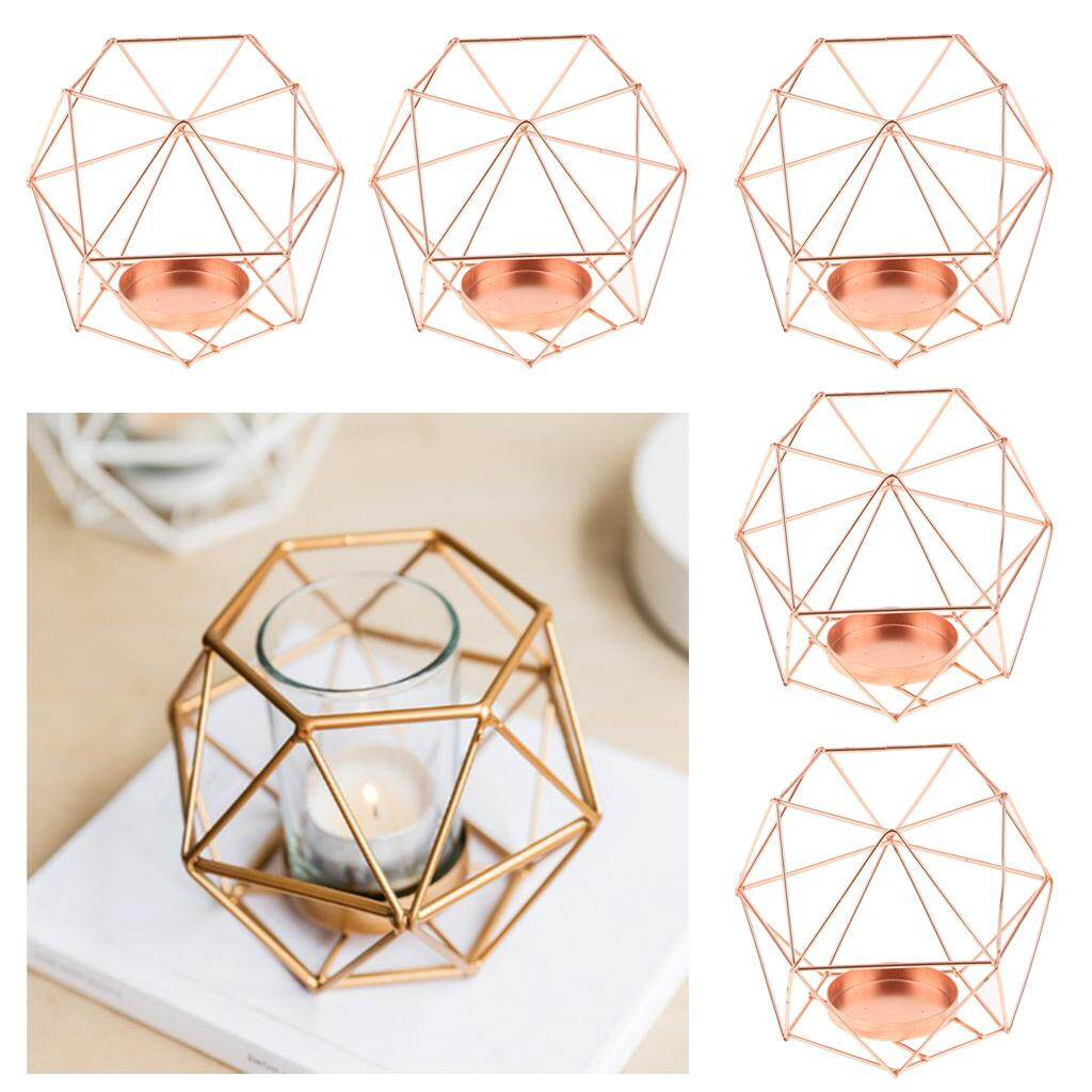 Fityle ROSE GOLD PLATED HEXAGON FRAME VOTIVE WICK CANDLE HOLDER CANDLESTICK 5PCS