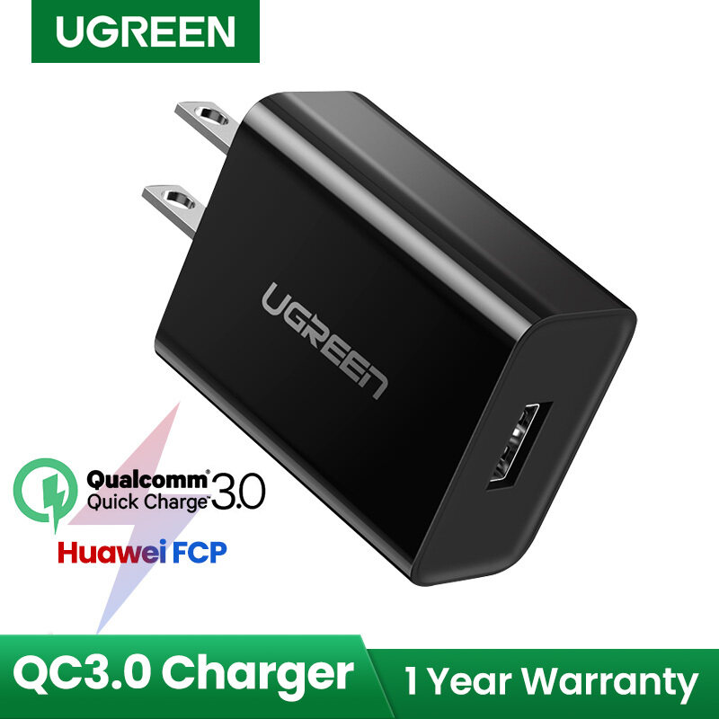 Sạc Tường UGREEN Quick Charge 3.0, Bộ Chuyển Đổi USB 18W Dành Cho Vivo Y11 Điện Thoại Di Động Realme5 Huawei Y7 Pro Samsung J5 Samsung Galaxy J6 + Xiao Mi