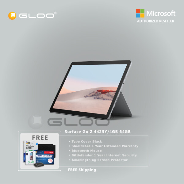 Microsoft Surface Go 2 4425Y/4GB 64GB + Surface Go Type Cover [Choose Color] + Shieldcare 1 Year Extended Warranty + Bitdefender 1 Year Internet Security + Bluetooth Mouse Black + Amazingthing Screen Protector Malaysia