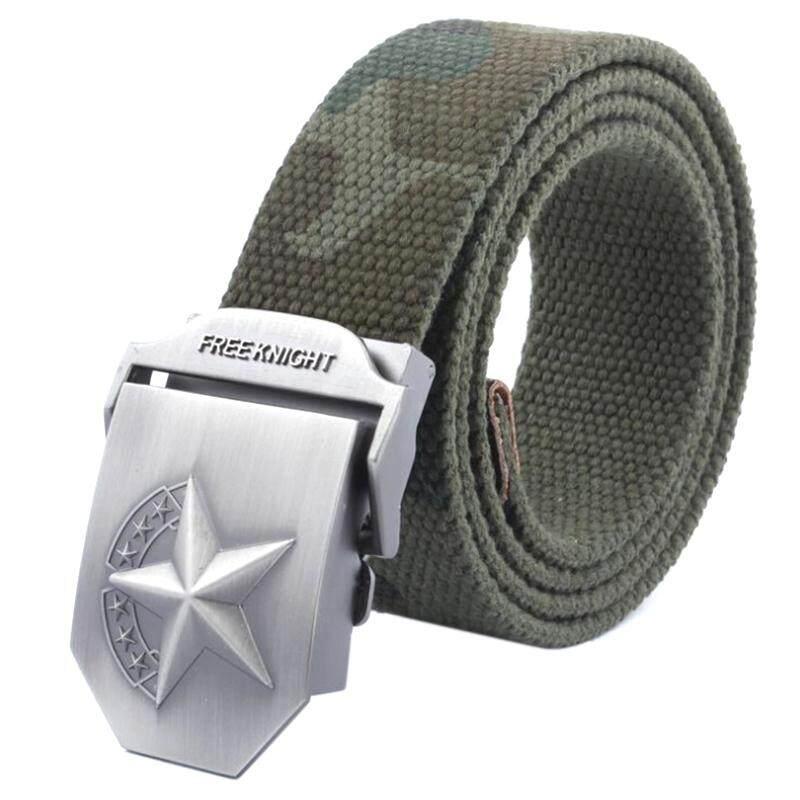 Blue sea Mens Canvas Belt Military Tactical Waist Belt Star Alloy Buckle Belts 3.8cm