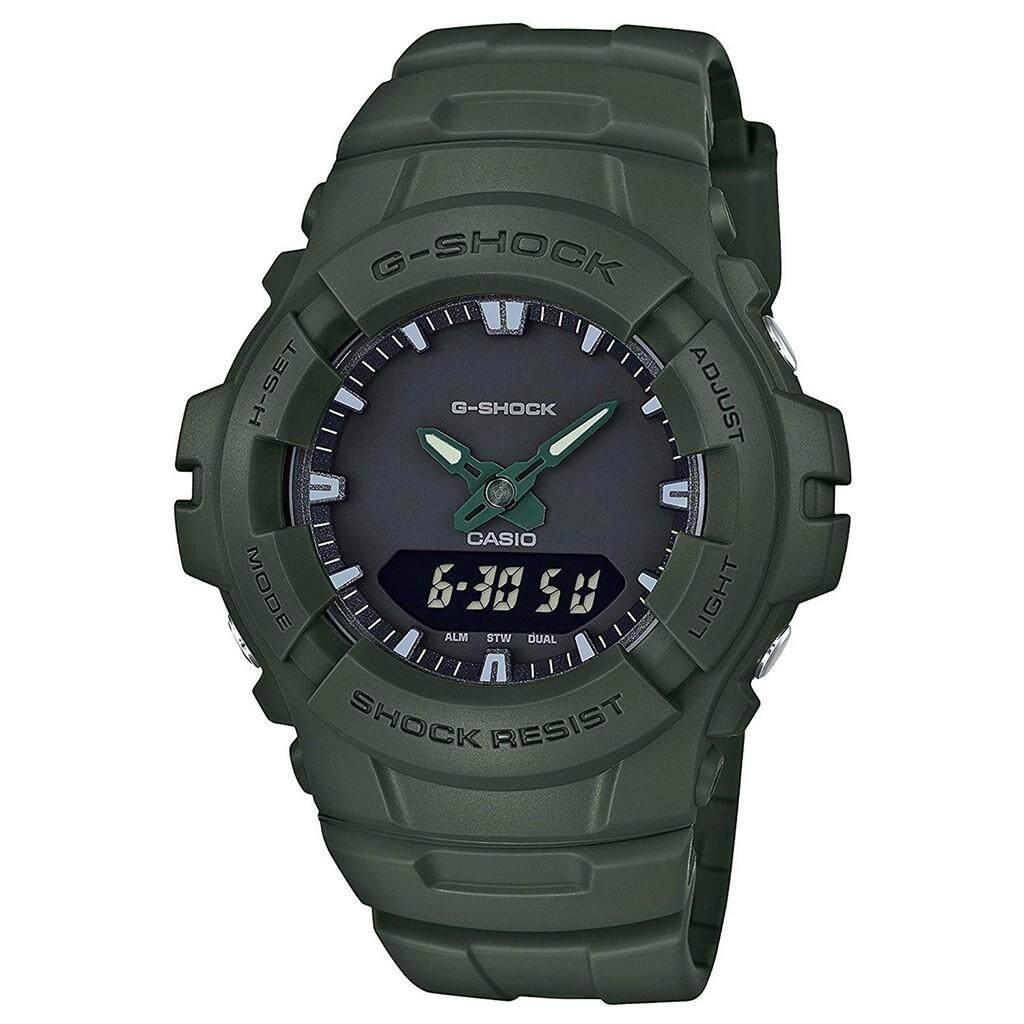 ยี่ห้อไหนดี  เชียงราย 【 STOCK】Original _ Casio_G-Shock G100 Duo W/เวลา 200M กันน้ำกันกระแทกและกันน้ำโลกนาฬิกากีฬาไฟแอลอีดีอัตโนมัติ Wist นาฬิกากีฬาสำหรับ MenBlack G-100