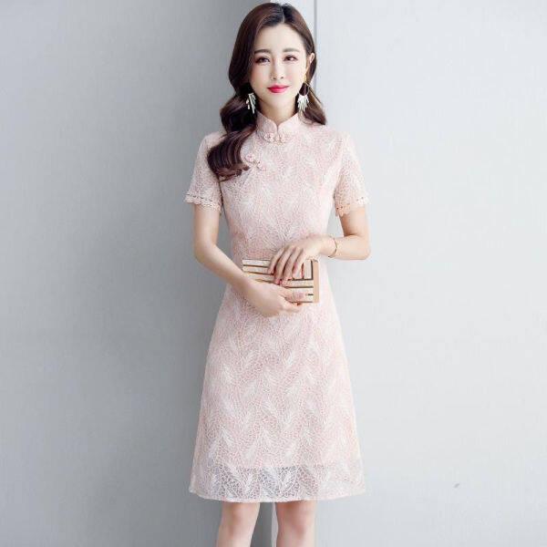 Đầm Sườn Xám Phối Ren Đầm Eo Thon Kiểu Trung Quốc Cổ Điển Mới 2020