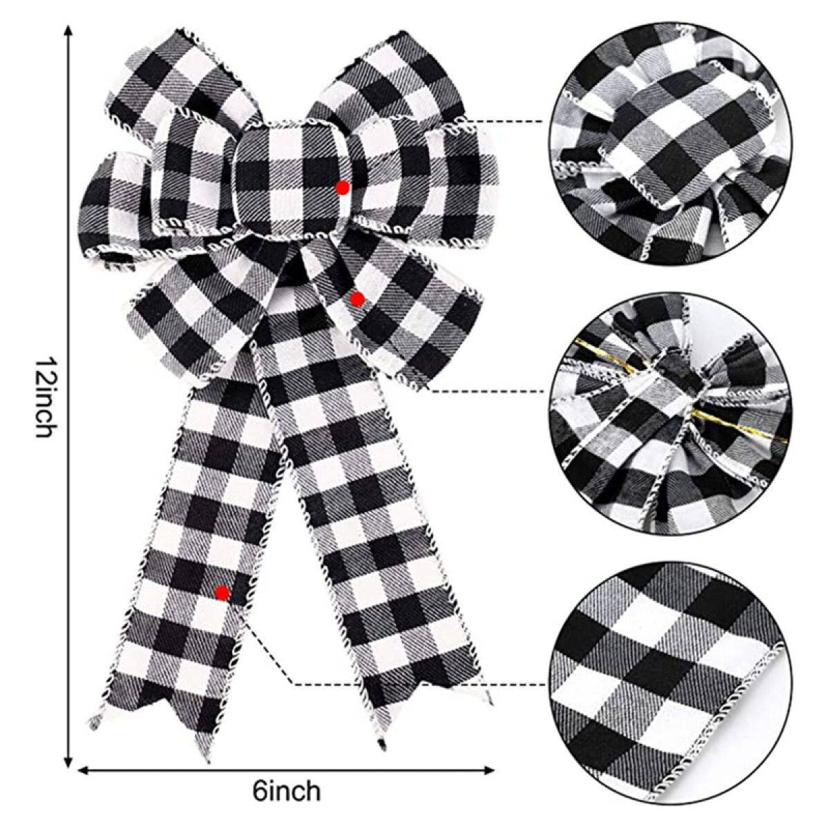 8 Pcs Buffalo Plaid Bow Halloween Thanksgiving Christmas Wreath Bow 10 Inch Black And White Fall Bow Lazada