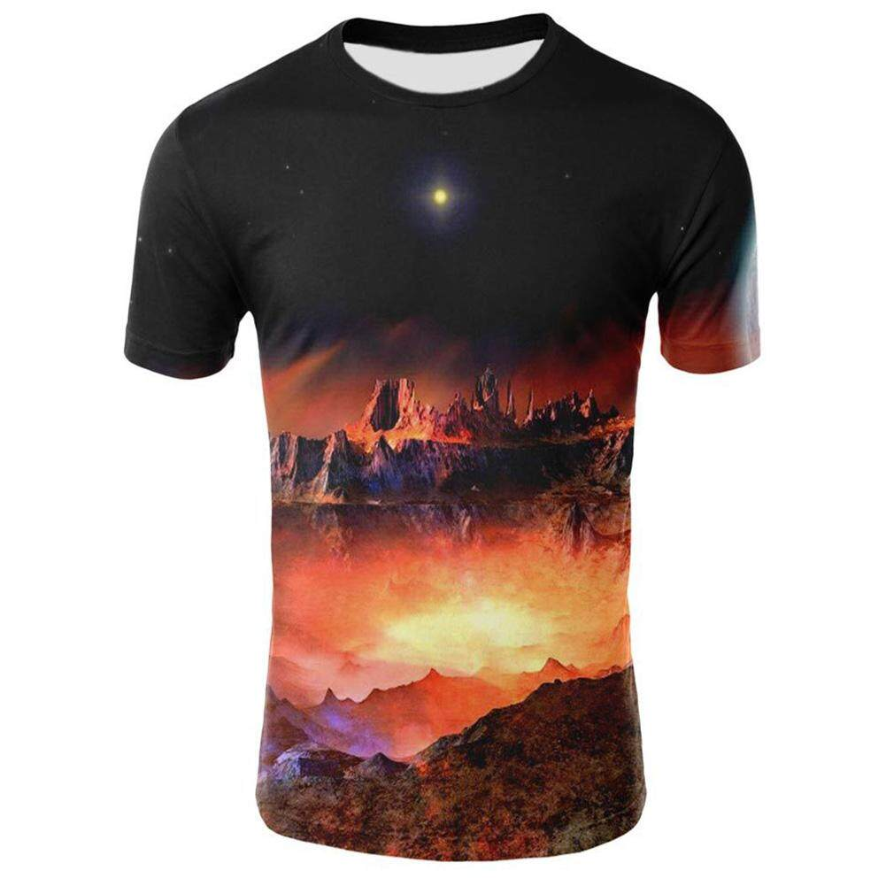 c6ae857ebca5 SZWL Colorful 3D Universe Starry Printing Men Women Round Collar T-shirt