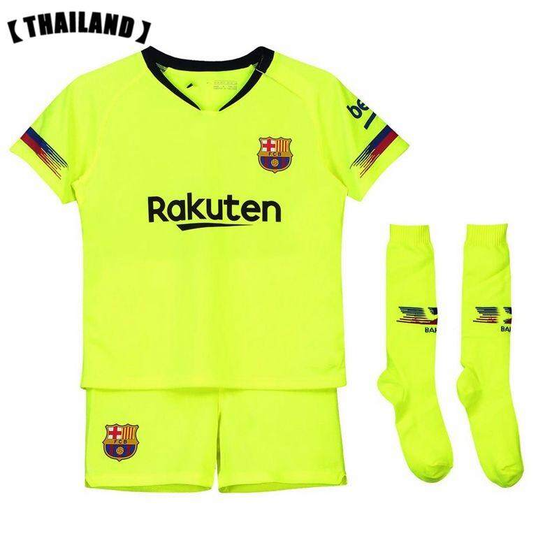 ece3b4cc6 (3-18years) 2019 New Season Barcelona Home and Away Football Jersey Top  Quality