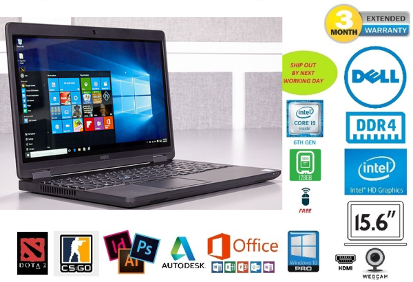 DELL LATITUDE E5570 BUSINESS-CLASS 15.6-INCH SLIM ULTRABOOK | INTEL 6TH GEN CORE i5 | 8GB DDR4 RAM | 120GB SSD | GENUINE WINDOWS 10 PROFESSIONAL 64-BIT | FREE GIFT: WIRELESS MOUSE Malaysia