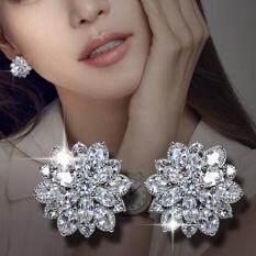 Trọng Lực Sóng Thời Trang Wedding Bridal Phụ Nữ Shiny Cubic Zirconia CZ Flower Stud Bông Tai Quà Tặng