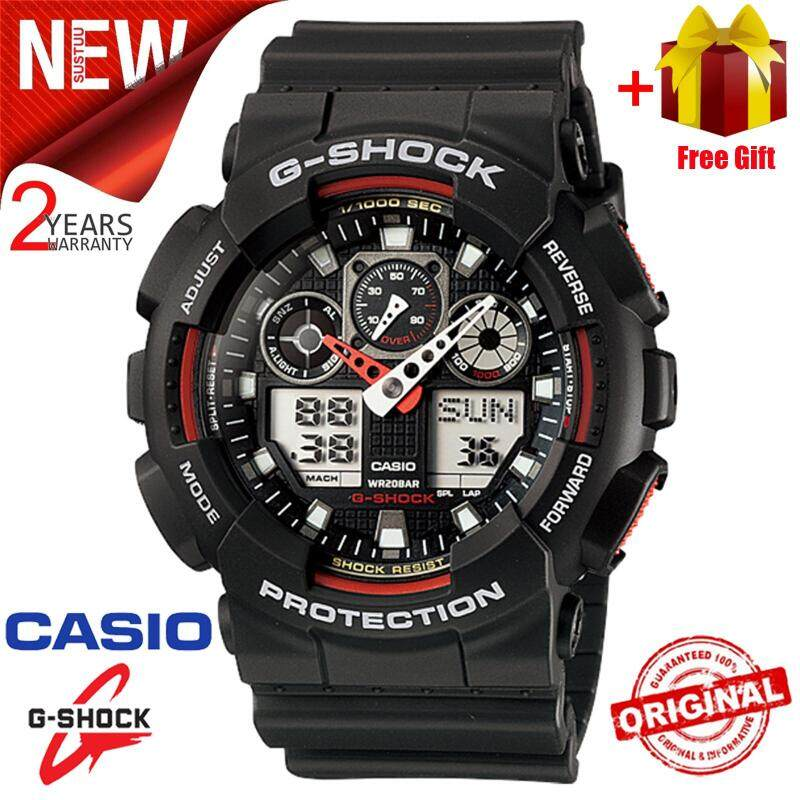 (Free Shipping) Original Casio G Shock_GA-100-1A2 Men Sport Watch Duo W/Time 200M Water Resistant Shockproof and Waterproof World Time LED Auto Light Wist Sports Watches with 2 Year Warranty GA100/GA-100 Malaysia