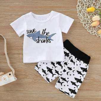 Aynshop ทารกแรกคลอดการ์ตูน SHARK T เสื้อเสื้อกางเกงสั้นชุดเสื้อผ้า