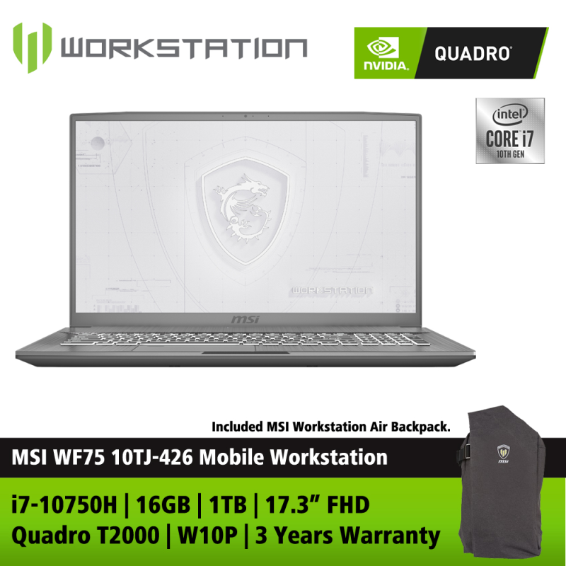 MSI WF75 10TJ-426 17.3 FHD Mobile Workstation ( i7-10750H, 16GB, 1TB, T2000 4GB, W10P ) Malaysia