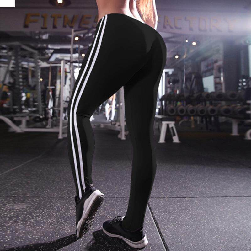 b702208b3ba Hequ Women Fashion Stripe Training Sports Yoga Pants Leggings Elastic Gym  Fitness Workout Running Tights Black
