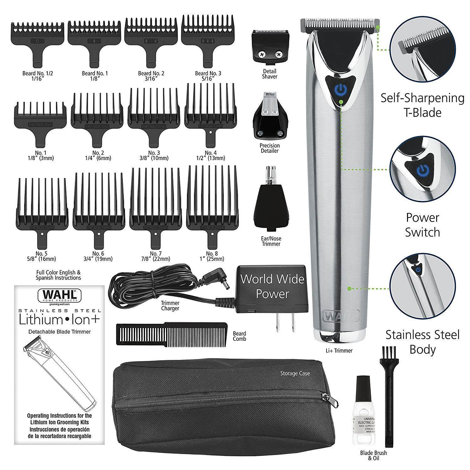 Wahl Clipper Stainless Steel Lithium Ion Plus Beard Trimmers for Men, Hair Clippers and Shavers